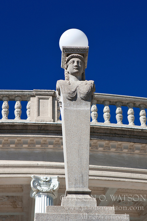 Statue light pole, outside of the Neptune Pool, Hearst Castle, San Simeon, California, United States of America