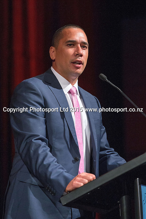 Assistant Coach Paul Henare speaks at the SkyCity Breakers Awards, 2014-15, SkyCity Convention Centre, Auckland, New Zealand, Friday, March 20, 2015. Copyright photo: David Rowland / www.photosport.co.nz