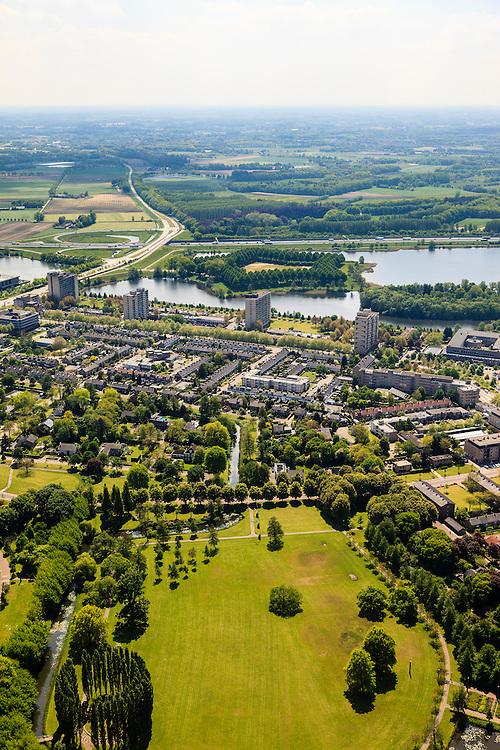 Nederland, Noord-Brabant, Den Bosch, 27-05-2013; Plan Zuid / De Pettelaar. Zuiderpark en Zuiderplas. Stadsuitbreiding en nieuwbouwwijk uit de jaren vijftig en zestig van de vorige eeuw, wederopbouwperiode. Groen en ruim opgezet.<br /> New residential area built in the fifties and sixties in Den Bosch. Spacious and plentyful green areas.<br /> Reconstruction area.<br /> luchtfoto (toeslag op standard tarieven)<br /> aerial photo (additional fee required)<br /> copyright foto/photo Siebe Swart