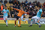 Wolverhampton Wanderers midfielder George Saville scores the opening goal during the Sky Bet Championship match between Wolverhampton Wanderers and Derby County at Molineux, Wolverhampton, England on 27 February 2016. Photo by Alan Franklin.