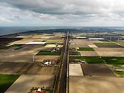 Nederland, Noord-Holland, Gemeente Wieringermeer, 16-04-2012. Wieringermeerpolder, overzicht langs zichtas van de Hooge Kwelvaart (een van de hoofdvaarten van de polder). Rechts windmolens langs de Robbenoordweg...Wieringmeer polder,  newly created land 1927, part of the Zuiderzee Works.luchtfoto (toeslag), aerial photo (additional fee required);.copyright foto/photo Siebe Swart