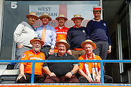 Luton Town fans with straw hats on before the Skrill Conference Premier match at Kenilworth Road, Luton<br /> Picture by David Horn/Focus Images Ltd +44 7545 970036<br /> 21/04/2014