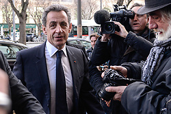 File photo - Former French President Nicolas Sarkozy meets Laurent Wauquiez, French right-wing Les Republicains (LR) party vice-president and candidate for the party's presidency in a restaurant in Lyon, France on December 8, 2017. Former French President Nicolas Sarkozy was in police custody on Tuesday morning March 20, 2018, an official in the country's judiciary said. He was to be questioned as part of an investigation into suspected irregularities over his election campaign financing, the same source added. The probe related to alleged Libyan funding for Sarkozy's 2007 campaign, Le Monde newspaper reported. Photo by Julien Reynaud/APS-Medias/ABACAPRESS.COM