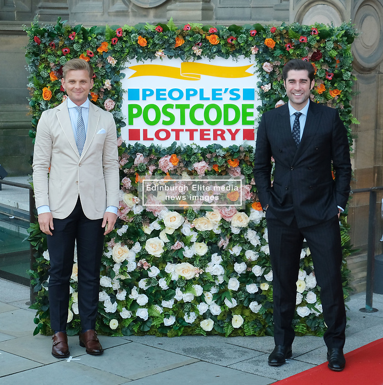 George Clooney and his wife Amal, representing the Clooney Foundation for Justice, arrive to collect an award for their charity work at the People's Postcode Lottery Charity Gala in Edinburgh <br /> <br /> Pictured: Jeff Brazier and Matt Johnson<br /> <br /> (c) Aimee Todd | Edinburgh Elite media