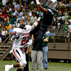 Sep 7, 2013; New Orleans, LA, USA; Tulane Green Wave wide receiver Devon Breaux (8) against South Alabama Jaguars cornerback Qudarius Ford (22) during the first quarter of a game at the Mercedes-Benz Superdome. Mandatory Credit: Derick E. Hingle-USA TODAY Sports