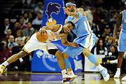 Jan. 28, 2011; Cleveland, OH, USA; Cleveland Cavaliers point guard Ramon Sessions (3) runs into Denver Nuggets power forward Kenyon Martin (4) during the third quarter at Quicken Loans Arena. The Nuggets beat the Cavaliers 117-103. Mandatory Credit: Jason Miller-US PRESSWIRE