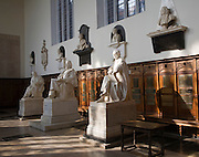 Statues inside Trinity College chapel, University of Cambridge, England