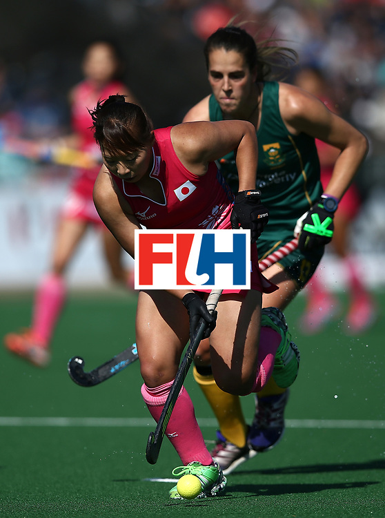 JOHANNESBURG, SOUTH AFRICA - JULY 22:  Yukari Mano of Japan controls the ball from Lisa-Marie Deetlefs of South Africa during day 8 of the FIH Hockey World League Women's Semi Finals 5th/ 6th place match between Japan and South Africa at Wits University on July 22, 2017 in Johannesburg, South Africa.  (Photo by Jan Kruger/Getty Images for FIH)
