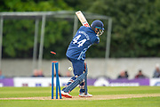 Richie Berrington is clean bowled by Afghan captain Gulbadin Naid during the One Day International match between Scotland and Afghanistan at The Grange Cricket Club, Edinburgh, Scotland on 10 May 2019.