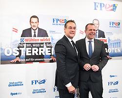 23.04.2019, FPÖ-Medienzentrum, Wien, AUT, FPÖ, Pressekonferenz mit Präsentation der Kampagne zur EU-Wahl. im Bild Vizekanzler Heinz-Christian Strache (FPÖ) und EU-Spitzenkandidat Harald Vilimsky (FPÖ) // Austrian Vice Chancellor Heinz-Christian Strache and Top Candidate for EU-elections Harald Vilimsky (FPOe) during media conference of the Austrian Freedom Party with the campaign presentation for EU elections in Vienna, Austria on 2019/04/23. EXPA Pictures © 2019 PhotoCredit: EXPA/ Michael Gruber