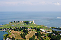 Aerial of Lynde Point Light and Fenwick Point, Old Saybrook, CT at the mouth of the Connecticut River.