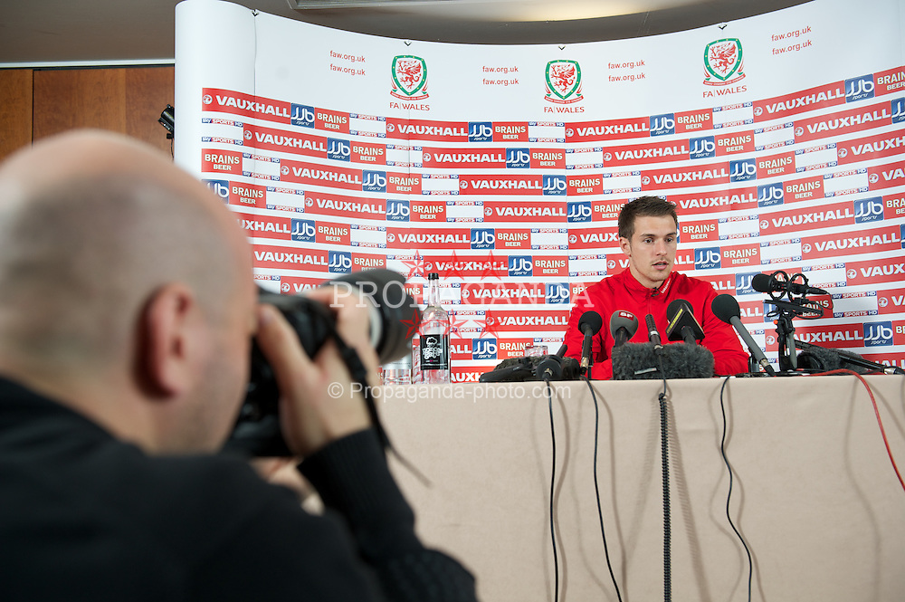 CARDIFF, WALES - Thursday, October 6, 2011: Wales' captain Aaron Ramsey during a press conference at the St. David's Hotel ahead of the UEFA Euro 2012 Qualifying Group G match against  Switzerland. (Pic by David Rawcliffe/Propaganda)