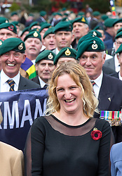 © Licensed to London News Pictures. 28/10/2016. London, UK. Claire Blackman (wife of Sgt Alexander Blackman) speaks at a rally in support of support of Sgt Alexander Blackman, also known as 'Marine A', who was given a life sentence after being convicted of murdering a wounded Taliban fighter. Photo credit : Tom Nicholson/LNP