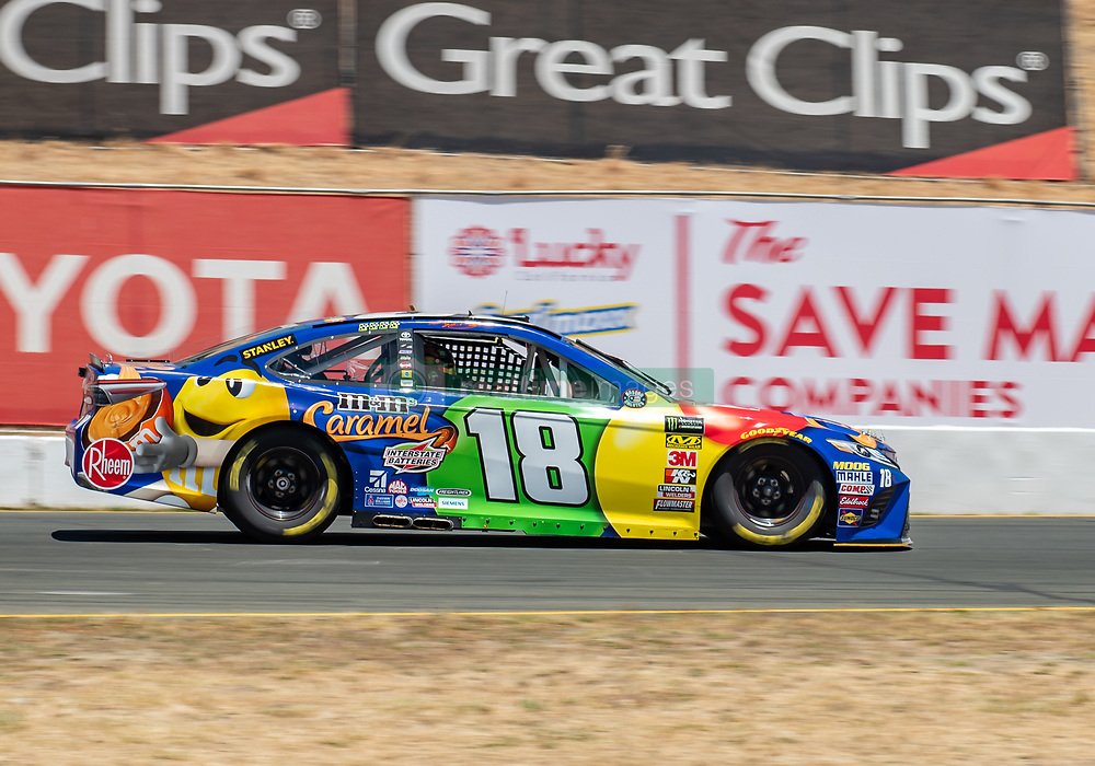 June 22, 2018 - Sonoma, CA, U.S. - SONOMA, CA - JUNE 22: Kyle Busch, driving the (18) Toyota for Joe Gibbs Racing goes through the paces on Friday, June 22, 2018 at the Toyota/Save Mart 350 Practice day at Sonoma Raceway, Sonoma, CA (Photo by Douglas Stringer/Icon Sportswire) (Credit Image: © Douglas Stringer/Icon SMI via ZUMA Press)