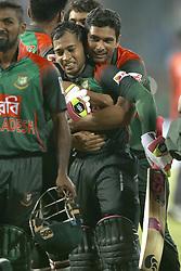 March 10, 2018 - Colombo, Sri Lanka - Bangladesh cricket captain Mahmudullah Riyad hugs  Mushfiqur Rahim after winning the 3rd T20 cricket match of NIDAHAS Trophy between Sri Lanka  and Bangladesh at R Premadasa cricket ground, Colombo, Sri Lanka on Saturday 10 March 2018. (Credit Image: © Tharaka Basnayaka/NurPhoto via ZUMA Press)