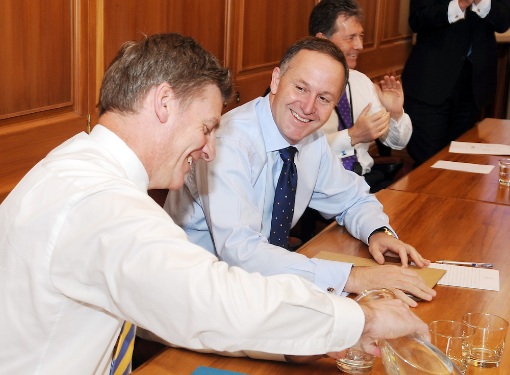 Deputy Bill English, left, with Prime Minister John Key at the first caucus meeting of the new Government, Parliament, Wellington, New Zealand, Tuesday, November 29, 2011. Credit:SNPA / Ross Setford