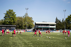 NEWTOWN, WALES - Sunday, May 6, 2018:  Connahs Quay players during the pre-match warm-up ahead of the FAW Welsh Cup Final between Aberystwyth Town and Connahs Quay Nomads at Latham Park. (Pic by Paul Greenwood/Propaganda)