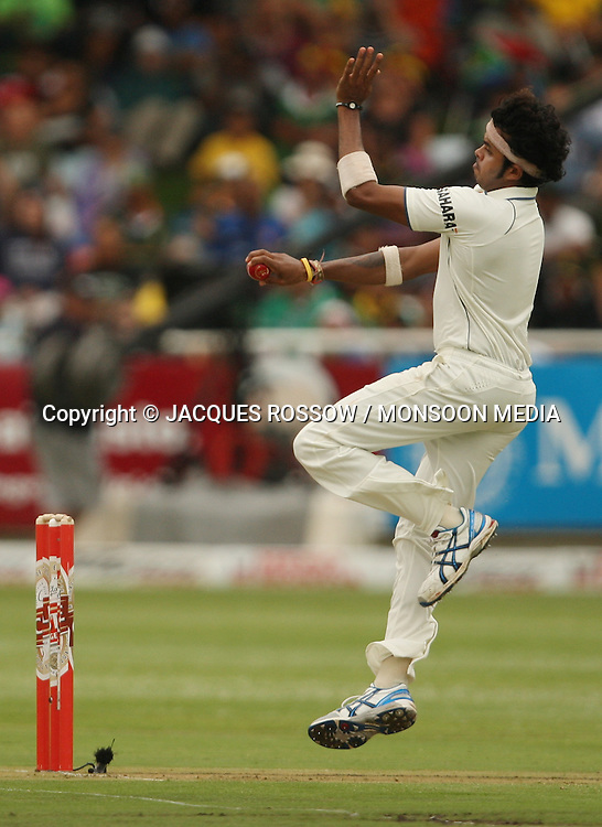 Sree Sreesanth in action during Day 1 of the third and final Test between South Africa and India played at Sahara Park Newlands in Cape Town, South Africa, on 2 January 2011. Photo by Jacques Rossouw / MONSOON MEDIA