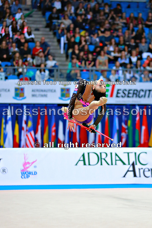 Hayakawa Sakura during final at clubs in Pesaro World Cup 3 April, 2016. Sakura is a Japan rhythmic gymnastics athlete born March 17, 1997 in Osaka, Japan. She appeared in Senior competitions in the 2013 season.