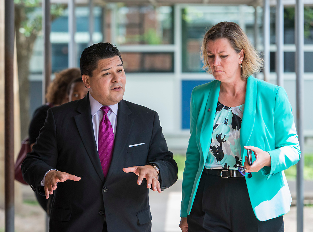 Deputy Chief of the Office of the United Nations High Commissioner for Refugees Kelly Clements visits Las Americas Newcomer School with Houston ISD Superitendent Richard Carranza, June 6, 2017.