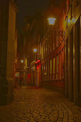 Narrow Alleyway lined with brothels, Amsterdam
