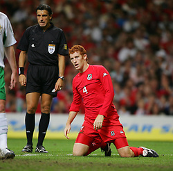 CARDIFF, WALES - Wednesday, September 8, 2004: Wales' James Collins in action against Northern Ireland during the Group Six World Cup Qualifier at the Millennium Stadium. (Pic by David Rawcliffe/Propaganda)