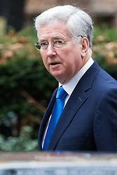 Downing Street, London, February 21st 2017. Defence Secretary Michael Fallon attends the weekly cabinet meeting at 10 Downing Street in London.