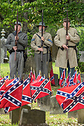 Confederate army re-enactors stand at attention in honor of Confederate Memorial Day at Magnolia Cemetery May 11, 2019 in Charleston, South Carolina. Confederate memorial day continues to be an official state holiday in South Carolina where the American Civil War began.