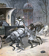 A Brave Boy: Twelve year old jeweller's apprentice, Alphonse Lecrocq, rushing into the road to stop two bolting horses. From 'Le Petit Journal', Paris, 26 March 1892. France, Transport, Horse, Danger, Courage, Bravery