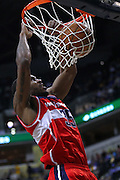 March 29, 2012; Indianapolis, IN, USA; Washington Wizards power forward Trevor Booker (35) dunks the ball against the Indiana Pacers at Bankers Life Fieldhouse. Mandatory credit: Michael Hickey-US PRESSWIRE