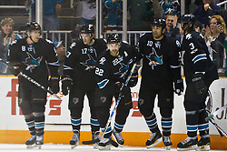 March 17, 2011; San Jose, CA, USA;  San Jose Sharks center Jamal Mayers (10) is congratulated by teammates after scoring a goal against the Minnesota Wild during the first period at HP Pavilion. Mandatory Credit: Jason O. Watson / US PRESSWIRE