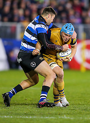Olly Robinson of Bristol Rugby is tackled by Matt Banahan of Bath Rugby - Rogan Thomson/JMP - 18/11/2016 - RUGBY UNION - Recreation Ground - Bath, England - Bath Rugby v Bristol Rugby - Aviva Premiership.