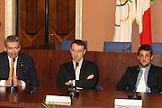 ROMA 12 MAGGIO 2010<br /> BASKET FIP<br /> CONFERENZA STAMPA BELINELLI E CUZZOLIN<br /> NELLA FOTO PITTIS CUZZOLIN BELINELLI <br /> FOTO CIAMILLO
