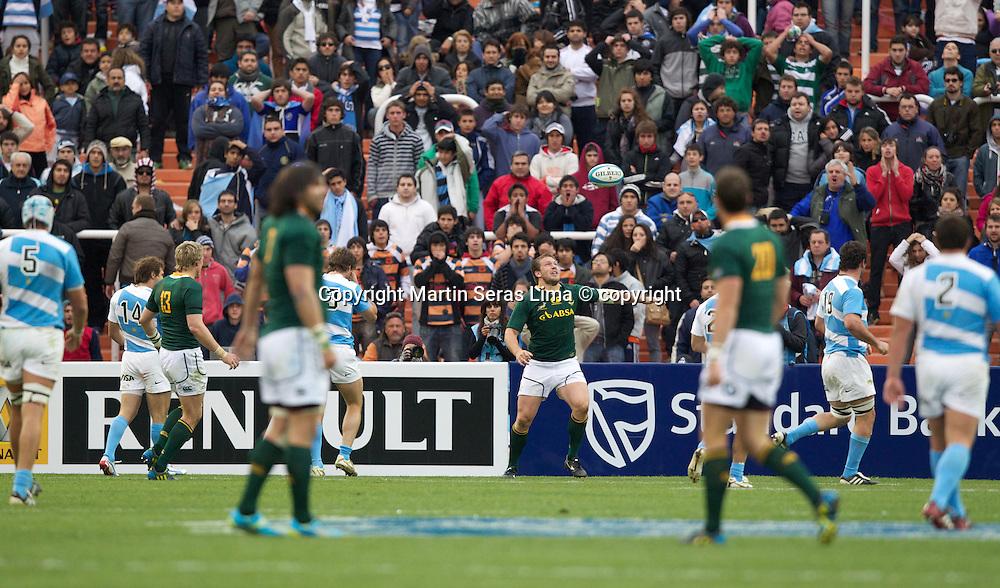 Frans Steyn try- Argentina v South Africa at Estadio  Malvinas Argentinas - Mendoza - Argentina - The Rugby Championship 2012 -Photo Martin Seras Lima