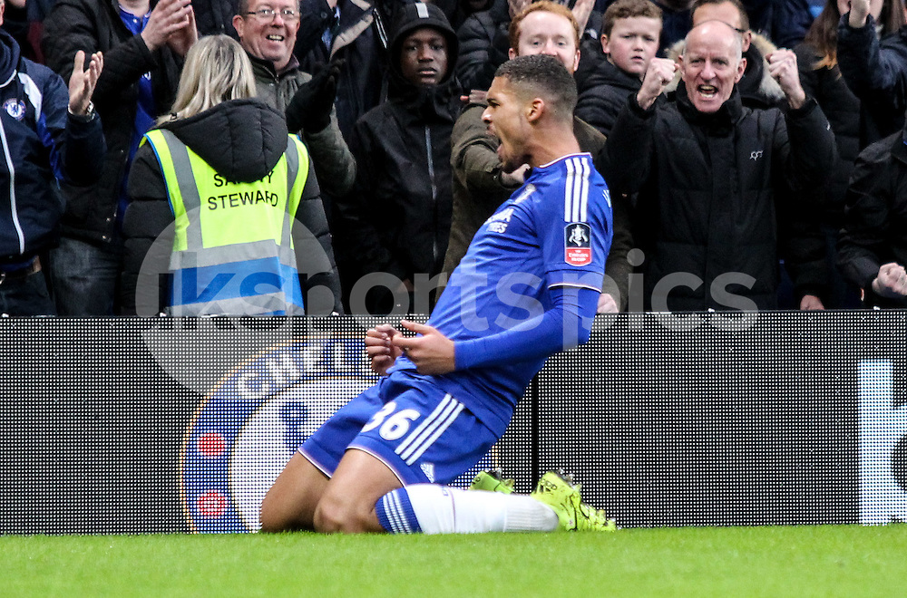 Ruben Loftus-Cheek of Chelsea scores to make it 2-0 and celebrates during the The FA Cup match between Chelsea and Scunthorpe United at Stamford Bridge, London, England on 10 January 2016. Photo by Ken Sparks.