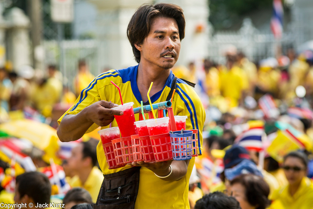 05 DECEMBER 2012 - BANGKOK, THAILAND: A drink vendor works the crowd on the Royal Plaza Wednesday while people wait to see Bhumibol Adulyadej, the King of Thailand, before his public audience at the Mukkhadej balcony of the Ananta Samakhom Throne Hall. December 5 is a national holiday. It's also celebrated as Father's Day. Celebrations are being held across the country to mark the birthday of Bhumibol Adulyadej, the King of Thailand.    PHOTO BY JACK KURTZ