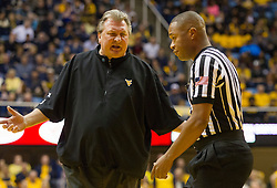 Feb 6, 2016; Morgantown, WV, USA; West Virginia Mountaineers head coach Bob Huggins argues a call during the first half against the Baylor Bears at the WVU Coliseum. Mandatory Credit: Ben Queen-USA TODAY Sports
