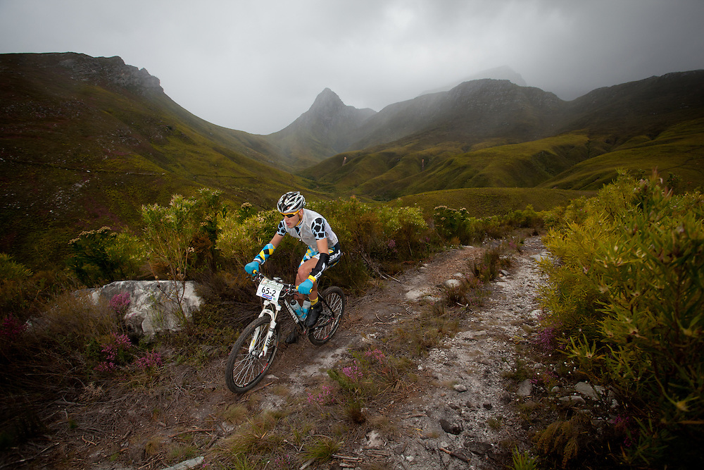 Sandro Soncin rides through Romanskraal Farm during stage 3 of the DCM Cape Pioneer Trek Mountain Bike stage race held from Riversdale, South Africa on the 19 October 2011..Photo by Nick Muzik
