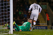 Northampton Town goalkeeper David Cornell (26) saves  during the EFL Sky Bet League 1 match between Bradford City and Northampton Town at the Coral Windows Stadium, Bradford, England on 22 November 2016. Photo by Simon Davies.