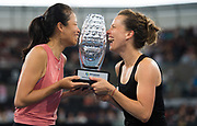 Barbora Strycova of the Czech Republic & Su-Wei Hsieh of Chinese Taipeh pose with their doubles champions trophy at the 2020 Brisbane International WTA Premier tennis tournament - Photo Rob Prange / Spain ProSportsImages / DPPI / ProSportsImages / DPPI