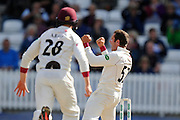 Roelof van der Merwe of Somerset celebrates taking the wicket of Steven Mullaney of Nottinghamshire during the Specsavers County Champ Div 1 match between Somerset County Cricket Club and Nottinghamshire County Cricket Club at the Cooper Associates County Ground, Taunton, United Kingdom on 22 September 2016. Photo by Graham Hunt.