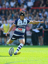 Bristol Fly-Half Matthew Morgan kicks for goal - Photo mandatory by-line: Joe Meredith/JMP - Mobile: 07966 386802 - 7/09/14 - SPORT - RUGBY - Bristol - Ashton Gate - Bristol Rugby v Worcester Warriors - The Rugby Championship