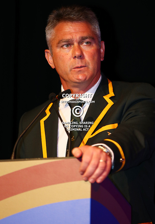 EASTBOURNE, ENGLAND - SEPTEMBER 13: Heyneke Meyer (Head Coach) of South Africa during the 2015 Rugby Wolrd Cup Springboks Welcome function at Eastbourne Winter Gardens on September 13, 2015 in Eastbourne, England. (Photo by Steve Haag Emirates)