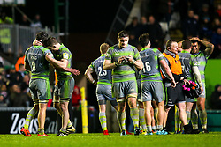 Newcastle Falcons celebrate beating Leicester Tigers thanks to a last minute try by Ally Hogg of Newcastle Falcons - Mandatory by-line: Robbie Stephenson/JMP - 27/04/2018 - RUGBY - Welford Road Stadium - Leicester, England - Leicester Tigers v Newcastle Falcons - Aviva Premiership