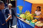 ULAN BATOR, MONGOLIA..08/21/2001.Fruit seller near Sukhbaatar Square..(Photo by Heimo Aga)