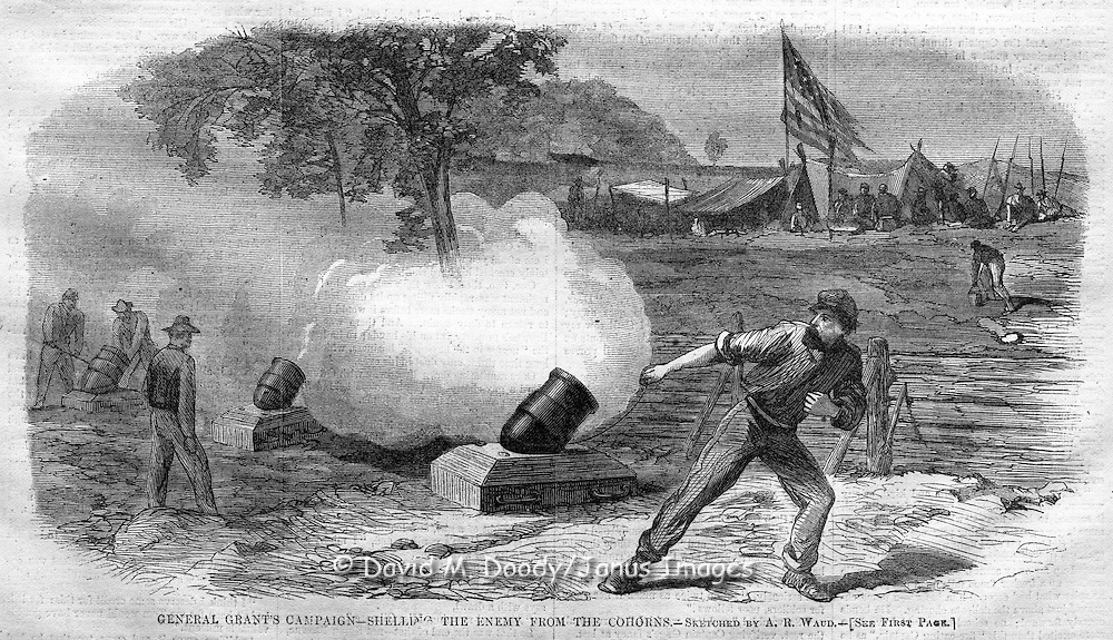 Civil War action before Petersburg, Virginia. Shelling the enemy from the cohorns. Harper's Weekly, August 20, 1864.