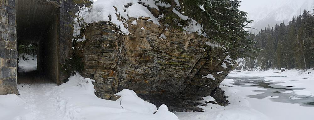 McDonald Creek and McDonald Creek Trail in winter. Glacier National Park, Montana.