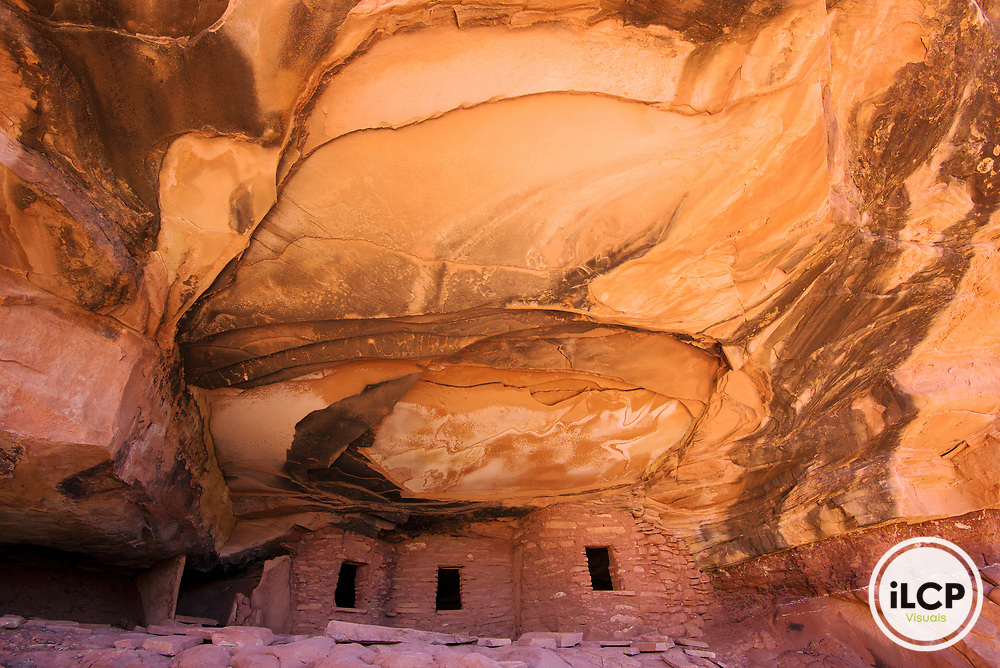 Fallen Roof ruin is situated in a dramatic alcove of Road Canyon. To hike from piñon juniper forest on the mesa top into these sacred canyons is a powerful experience. Cedar Mesa holds the history of the Ancient Puebloan People in canyon ruins, petroglyphs and pictographs, and in 12,000 years of occupation left behind. Thousands of these Native American sites remain undiscovered and in need of protection. On December 4, 2017, Bears Ears National Monument was reduced by an unprecedented 85%; Grand Staircase-Escalante National Monument by 50%.  iLCP rapid photography expedition to Bears Ears National Monument, Utah - December, 2017