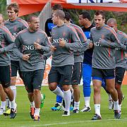 NLD/Katwijk/20110808 - Training Nederlands Elftal voor duel Engeland - Nederland, Kahlid Boulahrouz, John Heitinga, Rafael van der Vaart en Wesley Sneijder
