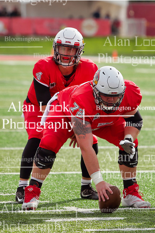 NORMAL, IL - October 13: Brady Davis and Garrett Hirsch during a college football game between the ISU (Illinois State University) Redbirds and the Southern Illinois Salukis on October 13 2018 at Hancock Stadium in Normal, IL. (Photo by Alan Look)